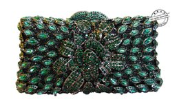 Crystal animal evening bags online shopping - Handmade Women Handbag Green Diamante Evening Bag Crystal Clutch Purse Rose Flower Hollow Out Mini Party Wedding Bag