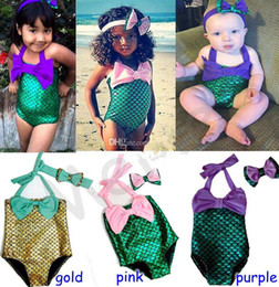 Vendas Del Tamaño De Los Cabritos Baratos-UPS FEDEX free 2016 KIDS Girls Little Mermaid traje de baño Bikini traje de baño traje de baño con cute headband 2-7years 3colors TAMAÑO 90-130