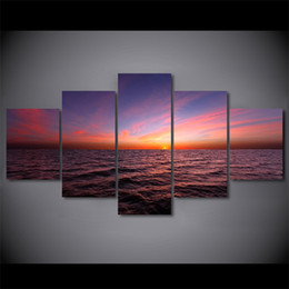 Wholesale 5 Pcs Set Sunset Twilight Sky Canvas Paintings Home Decor Wall Art Framed Posters HD Prints Pictures Painting