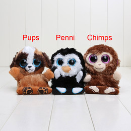 Monkeys Videos Canada - EMS 11.5cm TY big eyes Peek A Boos penguin penni Plush Toys Monkey chimps Dog pups NEW children Lovely Mobile phone seat Plush Toy Doll