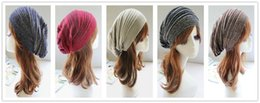 womens baggy beanie hats UK - Unisex Womens Mens Knit Baggy Beanie Hat Winter Warm Oversized Ski Cap