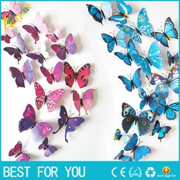 Wall Curtains UK - 3D three-dimensional wall stickers butterfly wall stickers size 12 suit wedding curtain window display stickers Home Decoration