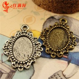 Oval Pendant Settings Silver Canada - A2994 20*26MM Fit 14*10MM Antique Bronze oval metal stamping blanks, tibetan silver bezel pendant base tray, cameo cabochon setting