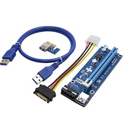pci express 1x riser cable Canada - Freeshipping 10pcs 60CM PCI-E PCI Express Riser Card 1x to 16x USB 3.0 Data Cable SATA to 4Pin IDE Power Supply for BTC Miner Machine