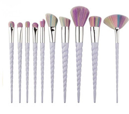 eyeshadow brush kits UK - 2018 10 PCS LOT Unicorn Makeup Brushes Eyeshadow Brush kit The fan brush Makeup Tools free shipping B689