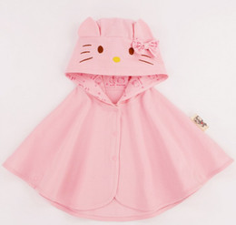 Girls Cotton Poncho Wholesale Canada - Light Pink Color Baby Poncho with Hooded Thin Style Grid Cotton Making 2 Sizes 90 100