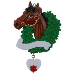 Gift Craft Christmas Ornament UK - Horse with Wreath Personalized Christmas Ornaments As Craft Souvenir For Gifts or For Home Decorations