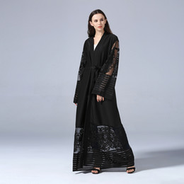 China New Muslim Women Black Lace Abaya Wholesale Factory Price Islamic Women Evening Party Dress with Belt cheap black evening abaya suppliers