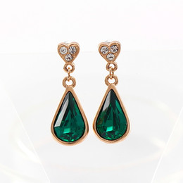 $enCountryForm.capitalKeyWord Australia - Women Drop Earrings Chinese Wholesale 18K Gold Rose Plated One Big Crystal Water Drop Wrapped CZ Stones Inserted