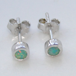 White Stone Ear Studs Canada - New Man Fashion jewelry 925 Sterling Sutd Blue Only Single M white OPAL Stone 4.0mm Rhodium plating Ear Earring DR000168E Free Shipping