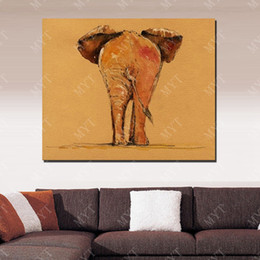 african animal canvas art UK - Indian elephant picture hand painted realistic animal wall art picture hand painted african wild animal oil painting