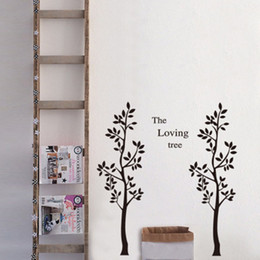switch poster Australia - Two Big Black Tree Wall Stickers Home Decor The Loving Tree Bedroom Hallway Wall Applique Decals Living Room Decorative Wall Mural Poster