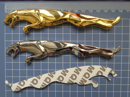 $enCountryForm.capitalKeyWord Canada - 2pcs Metal quality car 3D hood bonnet emblem Running Cheetah animal logo size 15.6cm Gold Black Silver RED for USA cars J*** series