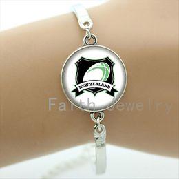 Sports Teams Logos NZ - Cool rugby fans bracelets case for New Zealand football team bracelet glass sports Team logo Souvenirs men jewelry gift NF020