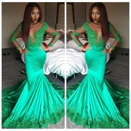 new amazing long sleeves mermaid prom dresses green lace appliques beaded sequined sheet illusion evening prom party gowns black girls