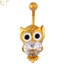 $enCountryForm.capitalKeyWord Canada - unique New Cute Owl Jewelry Navel Ring Women Body Jewelry 18K Gold Plated   Platinum Lucky Nighthawk Animal Belly Button Ring DB006