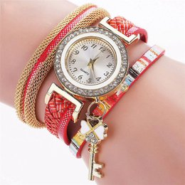 Yellow keY tags online shopping - Fashion Gold Luxury Crystal Key Watch Casual Women Bracelet Watch Leather Vintage Watch Sport Clock Gift wholesales