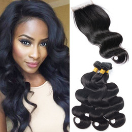 cheap wet wavy hair bundles 2019 - Body Wave 3 Bundles With Closure Raw Indian Hair Bundles For Wholesale Natural Black Cheap Hair Extensions Unprocessed W