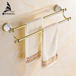 60cmdouble towel bartowel holdersolid brass madegold finishedbath productsbathroom accessories free shipping 5211