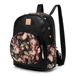 cee4b632c5 Women Backpacks 3D Printing Floral PU Leather Rivet Backpack Female Trendy  Designer School Bags Teenagers Girls Travel Mochilas