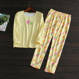 Plus size lingerie flower print Pajama Pajamas for Women Sleepwear Cotton  round neck Spring Autumn Nightwear Ladies Pyjamas Set BY36 fd98a9969