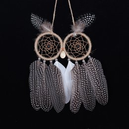 owl christmas ornament Canada - Dreamcatcher 2017 New Owl Handmade Dream Catcher With Feather Wall Hanging Decoration For Christmas Birthday Party Ornament