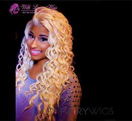 """Half Lace Wig Brazilian Hair Australia - 9A #613 Blonde Full Lace Wigs 130% Density Brazilian deep Wave Full Lace Hair Wigs 10""""-20"""" Lace Front Wig With Baby Hair"""