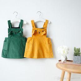 2d63105e4 Ins Euro Fashion Girl Lolita Dress sleeveless little bear design print  corduroy dress Autumn girl vest dress elegant style 100% Cotton