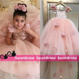 Blush Flower Girl Gowns Canada - Blush Pink Flower Girls Dresses Appliques Spaghetti Straps Ball Gown Ruffles Tulle Pageant Dresses for Girls Long Girl Dresses for Wedding