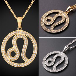 U7 New Zodiac Charms LEO Pendant Necklace Simple Women Men Jewelry Gift Rhinestone Gold Platinum Plated Perfect Gifts P2507
