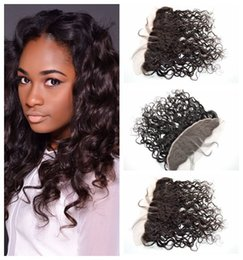 beach wave hair Canada - Frontal Closures 13x4 Bleached Knots Beach Wave Hair Weaves Mongolian Ear To Ear Lace Frontals Hair Pieces G-EASY