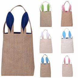 Carino cotone e lino Easter Bunny Ears Basket Bag Per Pasqua Regalo Imballaggio Pasqua Borsa per bambino Fine Festival regalo in Offerta