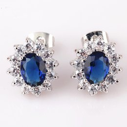 $enCountryForm.capitalKeyWord NZ - Fashion Jewelry 18K White Gold Plated Blue Sapphire Clear Crystal Cluster Stud Earrings for Women Hot Gift