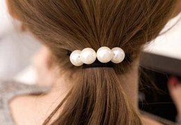 free shipping latest new fancy decorative pearls elastic hair tie ponytail  holder hair bands for girls 8b762c00027