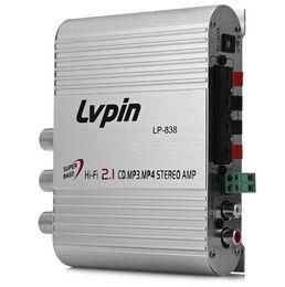 NOVA LVPIN LP-838 Mini Hi-Fi CD 2.1 MP3 Rádio Car Auto Motocicleta Home Audio Estéreo Baixo Amplificador Speaker em Promoção