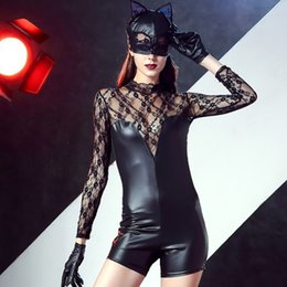 Women Sexy Black Halloween Costumes NZ - New Halloween Catwoman Costume 3 Pieces Black Faux Leather Lace Hollow Out Catsuit Sexy Cat Catsuit for Women Cosplay Outfits A416736