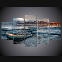 posters canvas prints Australia - 5 Pcs Set Framed Printed Lake Mountain Snow Beach Nature Painting Canvas Print room decor print poster picture canvas Free shipping ny-4541