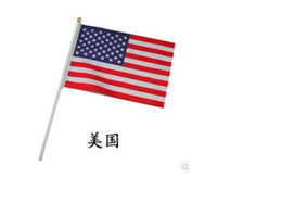 Discount hand waving flags - new arrivals American hand Flag size 14cm x 21cm 4th of July Independence Day waving flag free ship