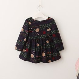 Barato Impressões Florais Ocidentais-Everweekend Kids Girls Print Flores Princesa Inverno Warm Fleece Forro Vestido Velvet Ruffles Baby Lovely Western Dress