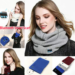 bluetooth smart rings Australia - Hot Bluetooth Smart Scarf Wireless Bluetooth Scarf Music Knitted Scarf collar Headset Headphone Speaker Mic for phone Headphone WX-S08