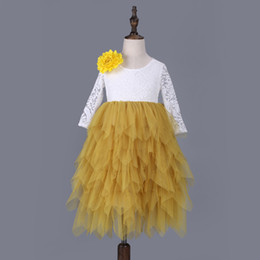 $enCountryForm.capitalKeyWord NZ - Kids Girls Lace Dresses Baby Girl Floral Embroidery Long Dress Boutique Infant Princess Full Sleeve Tulle Tutu Dress for Wedding Party D261