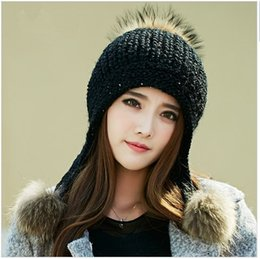 Beanies For Winter Canada - 2016 new Autumn and winter hat for women knitted wool hats with big raccoon fur pom poms ear protector beanies fashion hat