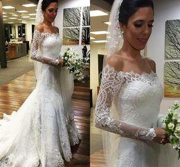 $enCountryForm.capitalKeyWord Canada - 2016 Vestios De Novia Full Lace Mermaid Wedding Dresses Off Shoulders Long Sleeves Sweep Train Buttons Back Arabic Vintage Bridal Gowns