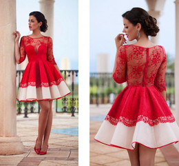 Discount half pipes - 2019 Short Cocktail Dresses Red Half Sleeves Homecoming Dresses Full Lace Sheer Jewel Neck Evening Party Dresses See Thr