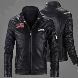 KhaKi motorcycle jacKet online shopping - 2017 Autumn Winter Fashion Motorcycle Biker Velvet Sheep Skin Leather Jackets Men American US Flag Vintage Brand Mens Jacket