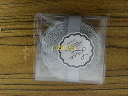 Coaster Favors Canada - 100pcs lot(=50sets) fedex dhl Free Shipping Wedding favors gifts Lace Exquisite Frosted Glass Coasters For Party