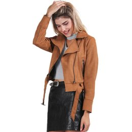 faux leather zipper jacket UK - Apparel Zipper basic suede jacket coat motorcycle leather jacket Women outwear Pink belted short winter jackets
