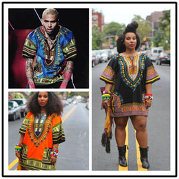 Ingrosso Abiti africani Dashiki per le donne Uomini vestiti africani camicia hippie caftano vintage unisex tribale messicano Top Bazin Riche abbigliamento etnico