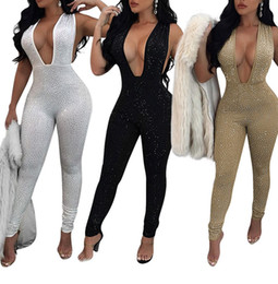 Barato Jumpsuits De Glitter-MAIS BARATO NOVO Rhinestones Shinning Mulheres Sexy Bodycon Jumpsuit Deep V Neck mangas Glitter Jumpsuit Romper CAF236