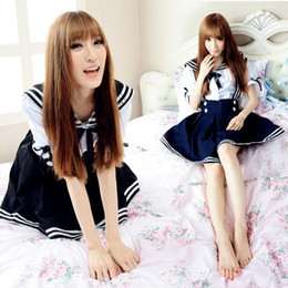 Costume De Lycra Sexy Pas Cher-Uniforme gros-Livraison gratuite Sexy Navy School Girl japonaise Japan Uniforme scolaire cosplay costume Anime Girl Pucelle Sailor Lolita Dress